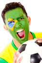 Brazilian football fan Stock Images
