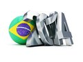 Brazilian football on a white background Stock Images