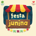 Brazilian June Party Cool thematic tent with wooden sign logo