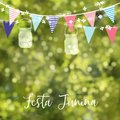 Brazilian june party, festa junina. String of lights, colorful flags, jar lanterns. Party decoration. Birthday garden or Royalty Free Stock Photo