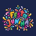 Brazilian lettering text Festa Junina illustration. Festive Vector card. Flashes, fireworks Feast logo in colorful frame