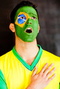Brazilian man singing anthem Stock Photos