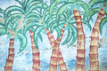 Brazilian Palm Trees Tropical Graffiti Royalty Free Stock Photo