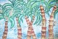 Brazilian Palm Trees Tropical Graffiti Royalty Free Stock Photo
