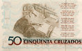 Brazilian paper money fifty cruzado as background and texture. Royalty Free Stock Photo