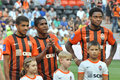 Brazilian players of shakhtar before the match between donetsk city ukraine vs zenit st petersburg russia united Stock Photography