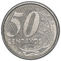 Brazilian real centavos coin isolated on white background Royalty Free Stock Photo