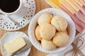 Brazilian snack pao de queijo (cheese bread) Royalty Free Stock Photo