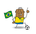 Brazilian soccer a with a balloon and a flag for the football world cup Stock Images