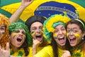 Brazilian soccer fans commemorating. Royalty Free Stock Photo