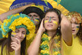 Brazilian soccer fans disappointed group of sad with team defeat Royalty Free Stock Photography