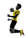 Brazilian soccer football player young man silhouette one in studio on white background Royalty Free Stock Images