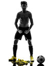 Brazilian soccer football player young man standing defiance sil one Stock Image