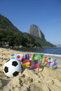 Brazilian soccer international flags beach football rio de janeiro ball with on praia vermelha red at sugarloaf mountain brazil Royalty Free Stock Photos