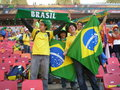 Brazilian soccer world cup fans Royalty Free Stock Images