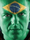Brazilian supporter closeup of young face painted with national flag colors Stock Photos