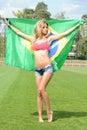 Brazilian supporter on a stadium Royalty Free Stock Photo