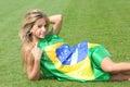 Brazilian supporter on a stadium Stock Photos