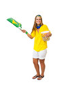 Brazilian supporter waving flag woman and holding a popcorn bowl on white background Stock Photos