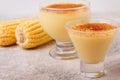 Brazilian sweet custard-like dessert curau de milho mousse of co Royalty Free Stock Photo