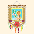 Brazilian traditional flag with a picture of Saint John
