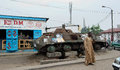 Brazzaville congo africa october the tank on the city street in republic of congo africa Stock Images