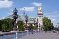 Brücke pont alexandre iii und großartiger palast paris frankreich Stockbild