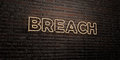 BREACH -Realistic Neon Sign on Brick Wall background - 3D rendered royalty free stock image Royalty Free Stock Photo