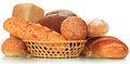 Bread abundance the isolated on white background Stock Photos