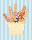 Bread background an illustration of a basket full of bakery products including french stick croissant doughnut and pretzel on a Royalty Free Stock Photo