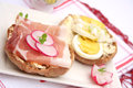 Bread with bacon and eggs Royalty Free Stock Photo
