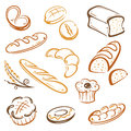 Bread bakery vector set of and breakfast Stock Photography