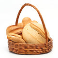 Bread in basket Stock Images