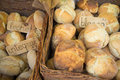 Bread basket baskets full of freshly baked homemade Stock Image