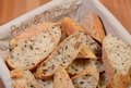 Bread basket with french baguette slices Royalty Free Stock Photos