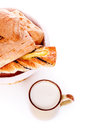 Bread Basket and Mug of Milk Royalty Free Stock Photography