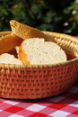 Bread in basket outdoors Stock Photo