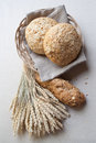 Bread in basket rural still life Stock Photography