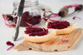 Bread with beetroot marmalade two slices of from beets Royalty Free Stock Photos