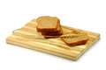 Bread on the board isolate image of sliced a a white background Stock Photos