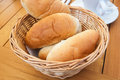 Bread bun in a basket on the table at the restaurant Stock Images