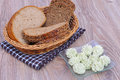 Bread with butter herb on a table Royalty Free Stock Images