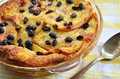 Bread and butter pudding with raisins straight from the oven Royalty Free Stock Image