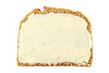 Bread and butter slice of rye with isolated on white Stock Photo