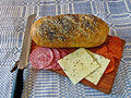 Bread, cheese, and salami Stock Photography