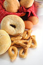 Bread close up image of large pretzels and with eggs and other ingrediants Royalty Free Stock Photography
