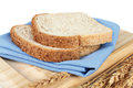 Bread closeup of slices on white background Stock Images