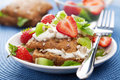 Bread with cottage cheese and berries Stock Images