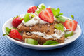 Bread with cottage cheese and berries Stock Photography
