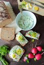 Bread with cottage cheese with herbs and fresh vegetables Royalty Free Stock Photo